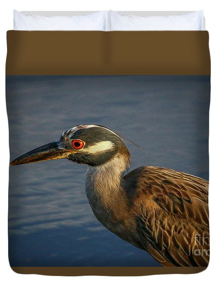 Duvet Cover featuring the photograph Night Heron Portrait by Tom Claud