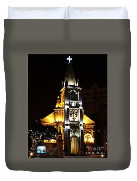 Night View Of The Holy Rosary Cathedral Duvet Cover