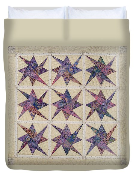 Nine Stars Dipping Their Toes In The Sea Sending Ripples To The Shore Duvet Cover
