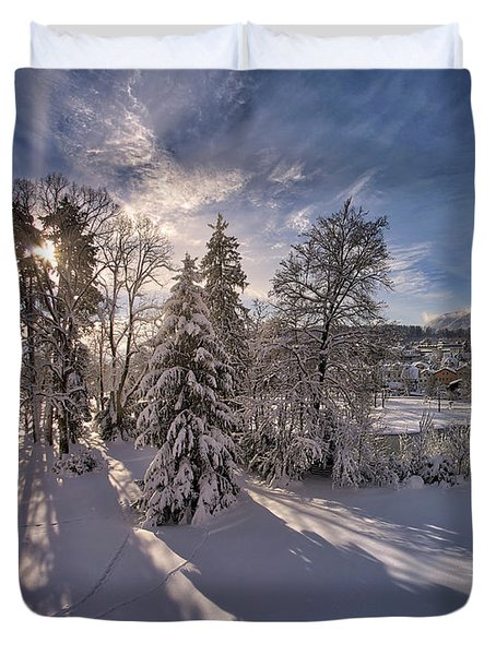 Duvet Cover featuring the photograph No Time Like Snowtime by Edmund Nagele
