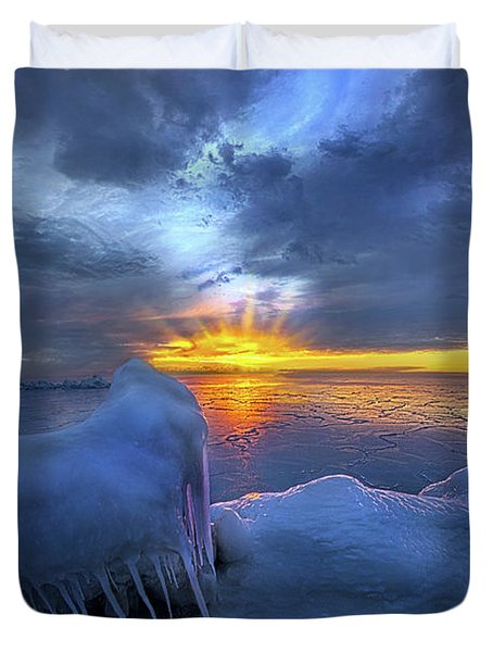 Duvet Cover featuring the photograph No Winter Skips Its Turn. by Phil Koch