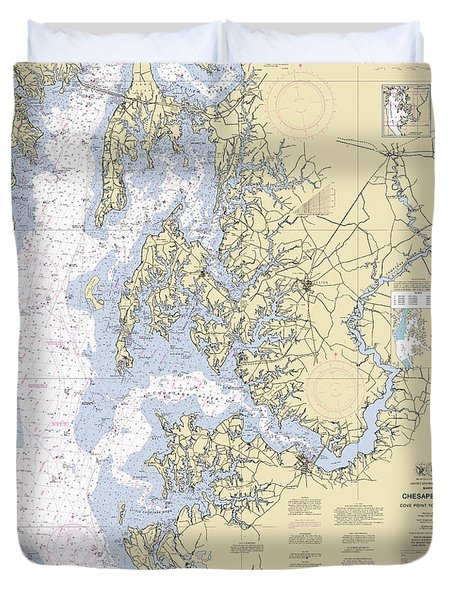 Chesapeake Bay, Cove Point To Sandy Point Nautical Chart Duvet Cover