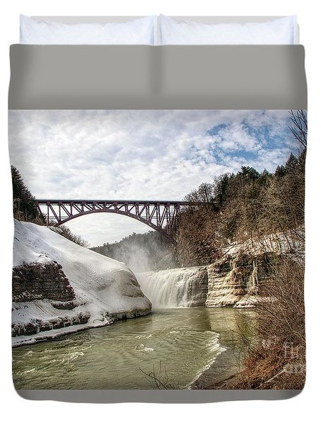 Winter At Letchworth State Park Duvet Cover