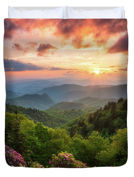 North Carolina Great Smoky Mountains Sunset Landscape Cherokee Nc Duvet Cover