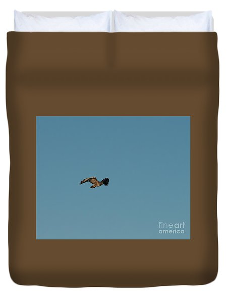 Duvet Cover featuring the photograph Northern Harrier In A Hurry by Jon Burch Photography