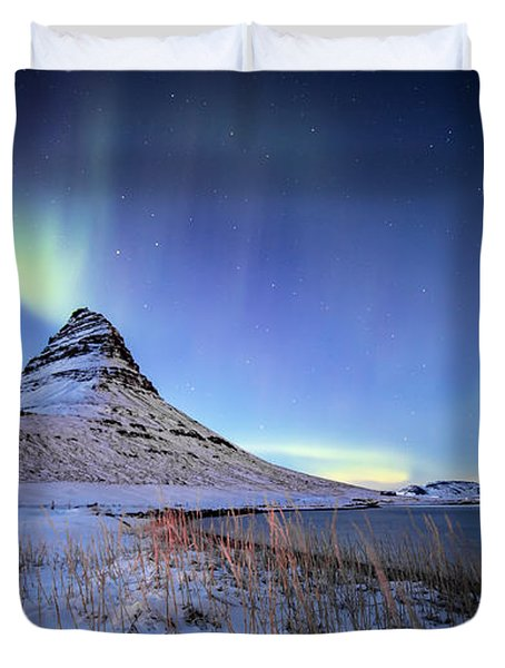 Northern Lights Atop Kirkjufell Iceland Duvet Cover