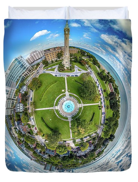 Duvet Cover featuring the photograph Northpoint Water Tower Little Planet by Randy Scherkenbach