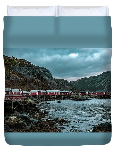 Norway Panoramic View Of Lofoten Islands In Norway With Sunset Scenic Duvet Cover