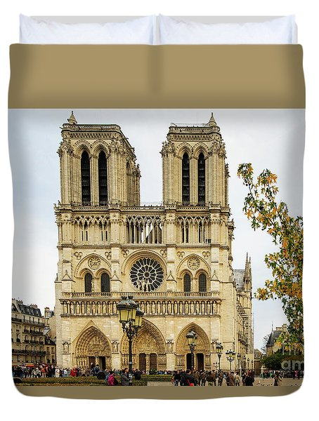 Notre Dame Cathedral Paris France Duvet Cover