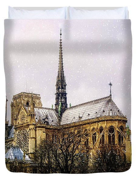 Notre Dame In The Snow Duvet Cover