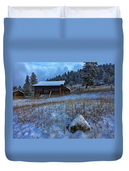 Duvet Cover featuring the photograph November Cabin by Dan Miller