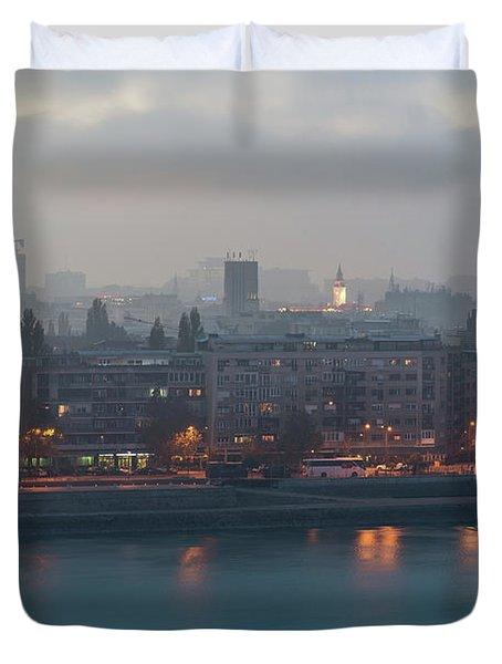 Novi Sad Night Cityscape Duvet Cover