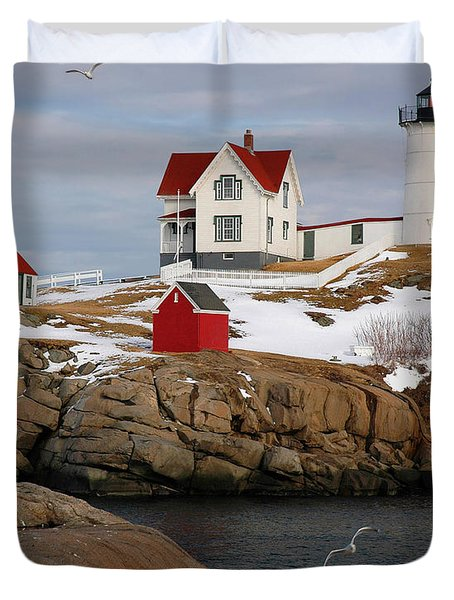 Nubble Light - Cape Neddick Lighthouse Seascape Landscape Rocky Coast Maine Duvet Cover