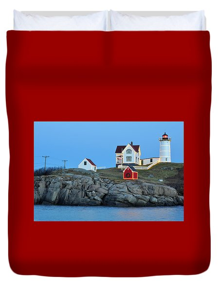 Nubble Light Holiday Glow Duvet Cover