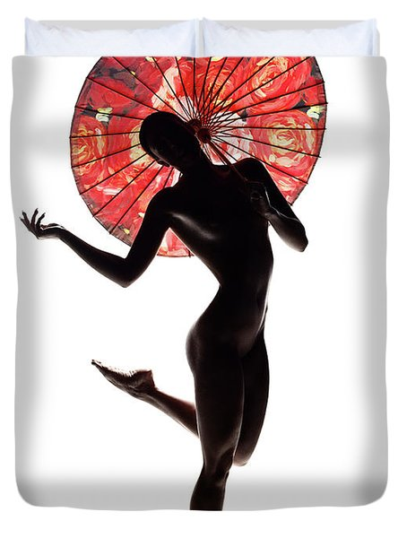 Nude Woman With Red Parasol Duvet Cover