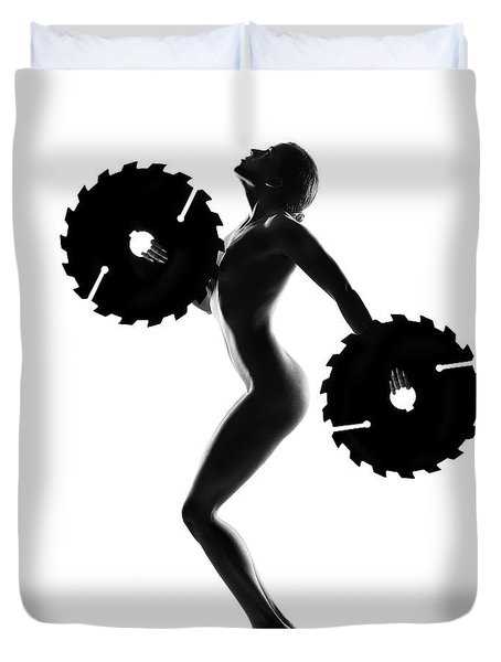 Nude Woman With Saw Blade 4 Duvet Cover