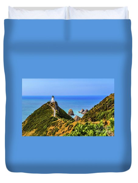 Nugget Point Lighthouse, New Zealand Duvet Cover