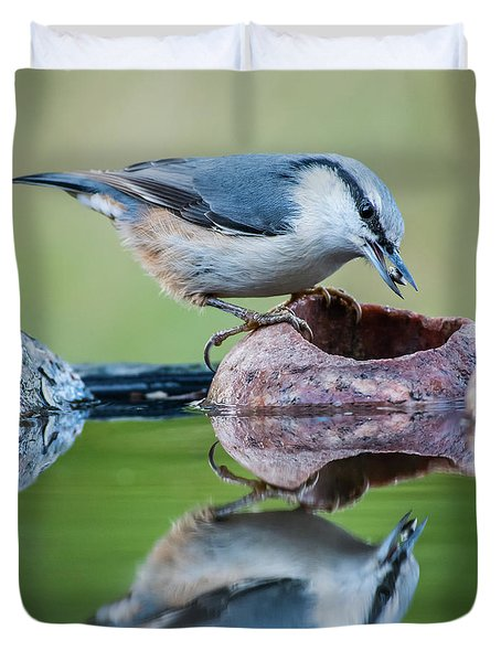 Nuthatch's Catch Duvet Cover