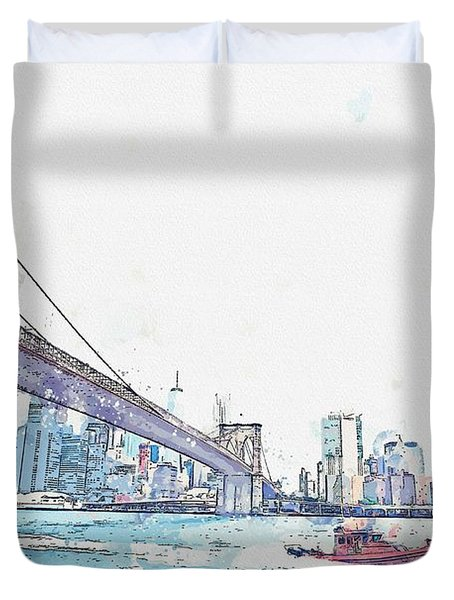 Ny, United States Watercolor By Ahmet Asar Duvet Cover