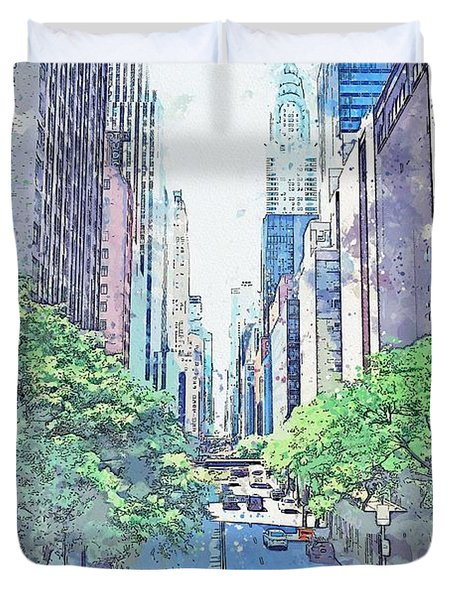 Nyc, New York, United States Watercolor By Ahmet Asar Duvet Cover