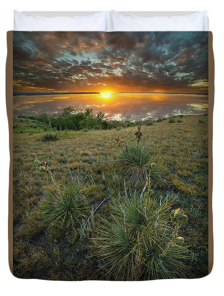 Duvet Cover featuring the photograph Oahe Sunset  by Aaron J Groen