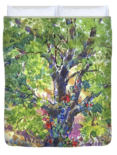 Duvet Cover featuring the painting Oak And Poison Ivy by Judith Kunzle