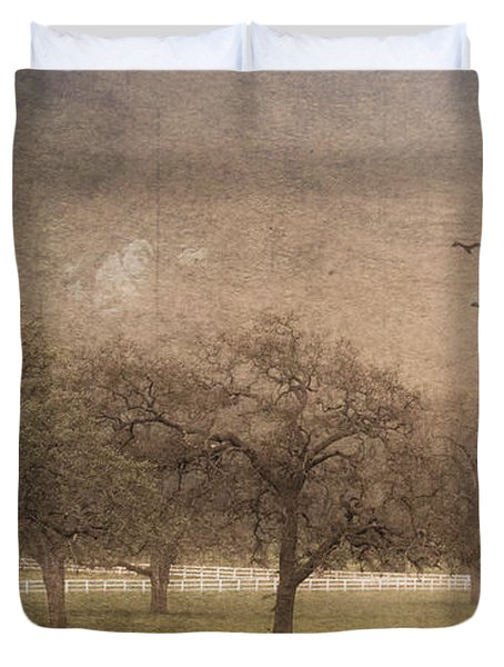 Oak Trees In Fog Duvet Cover