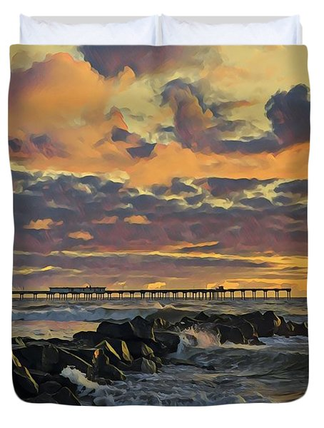 Ob Sunset No. 3 Duvet Cover