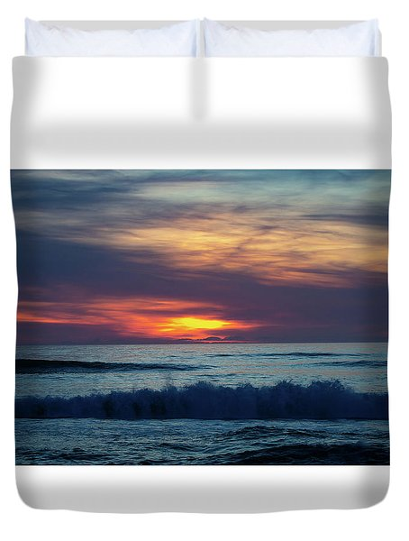 Duvet Cover featuring the photograph Obx Sunrise by Lora J Wilson