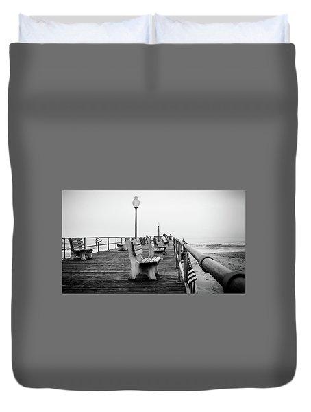 Duvet Cover featuring the photograph Ocean Grove Pier 2 by Steve Stanger