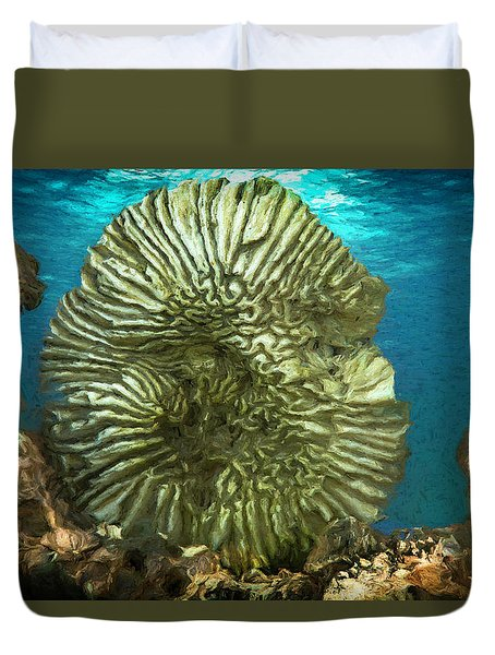 Ocean With Its Life Underground Duvet Cover