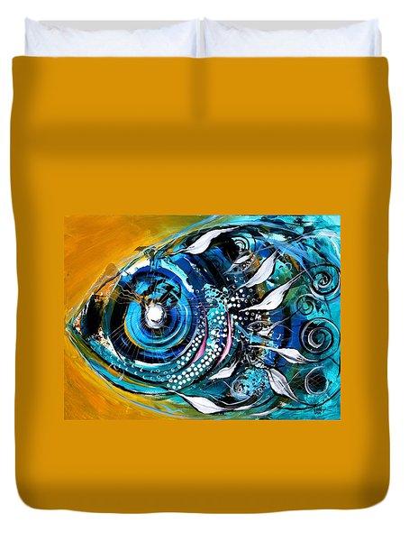 Ochre Fish Four Duvet Cover