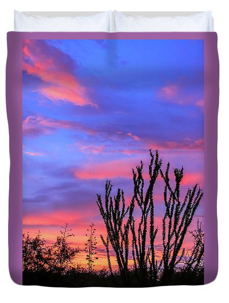 Duvet Cover featuring the photograph Ocotillo Sunset 1 by Dawn Richards