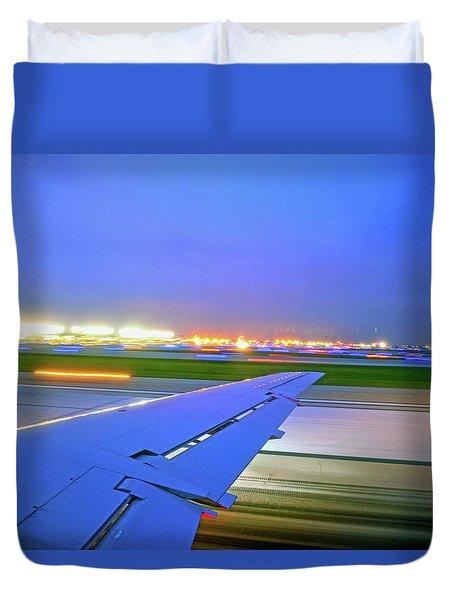 O'hare Night Takeoff Duvet Cover