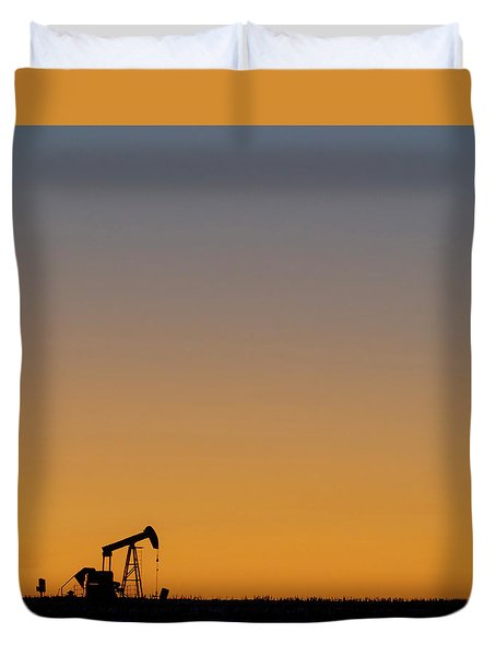 Duvet Cover featuring the photograph Oil Pump After Sunset 02 by Rob Graham