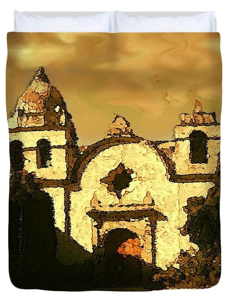 Old Carmel Mission - Watercolor Painting Duvet Cover