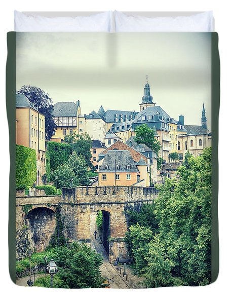 Duvet Cover featuring the photograph old city Luxembourg from above by Ariadna De Raadt