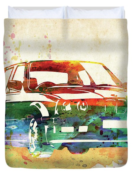 Old Ford Mustang Watercolor,  Duvet Cover