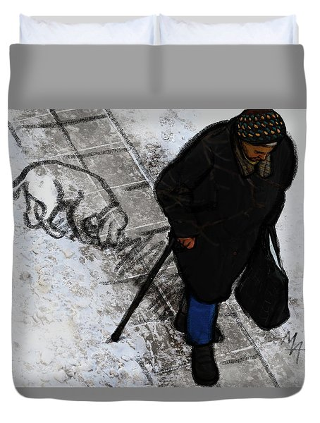 Duvet Cover featuring the digital art Old Lady With A Dog by Attila Meszlenyi