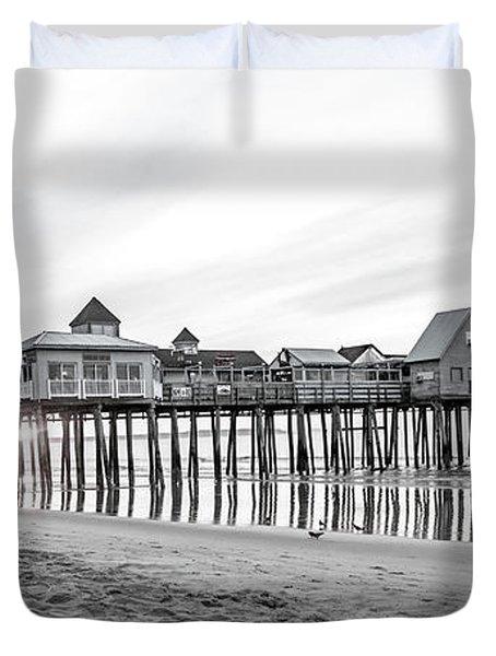 Old Orchard Beach Pier Classic Sunrise Duvet Cover