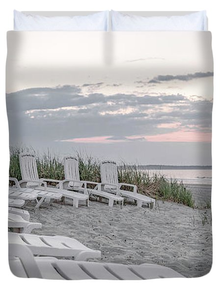Old Orchard Beach Tranquil Morning Duvet Cover