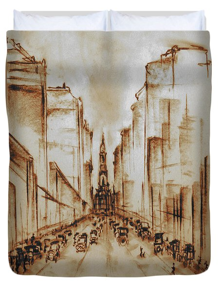 Old Philadelphia City Hall 1920 - Pencil Drawing Duvet Cover