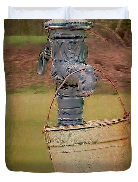 Old Pump And Water Bucket Duvet Cover