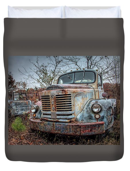 Duvet Cover featuring the photograph Old Reo Gold Comet by Kristia Adams