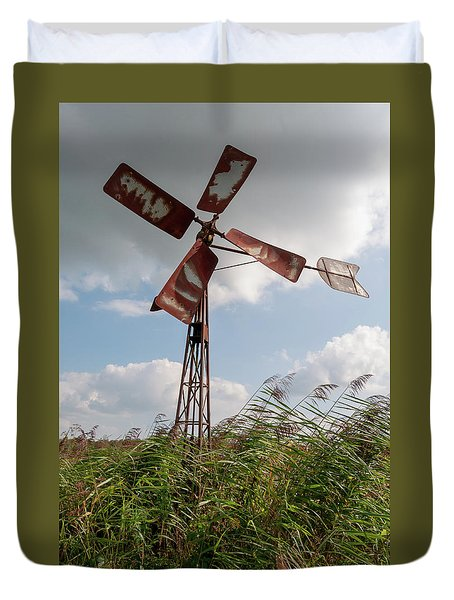 Duvet Cover featuring the photograph Old Rusty Windmill. by Anjo Ten Kate