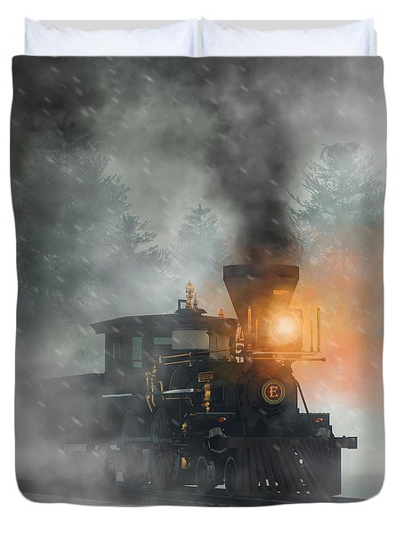 Duvet Cover featuring the digital art Old West Steam Train  by Daniel Eskridge