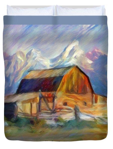 Old Wyoming Barn Duvet Cover