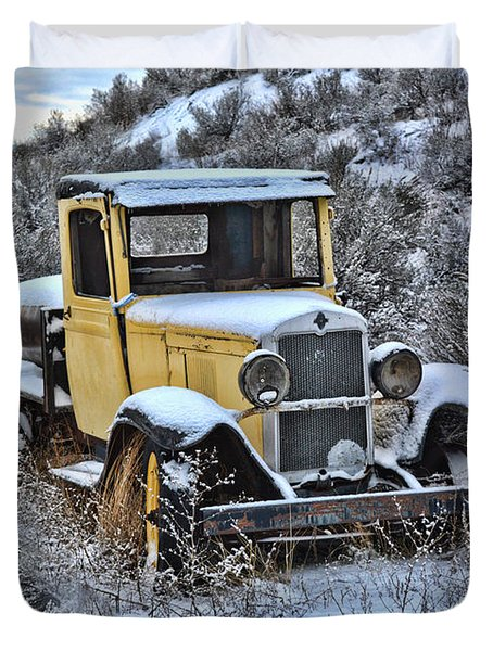 Old Yellow Truck Duvet Cover