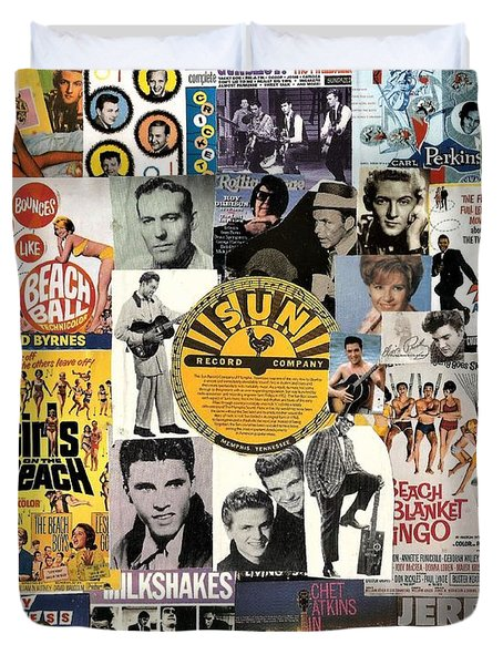 Oldies Pop And Rock Collage 1 Duvet Cover