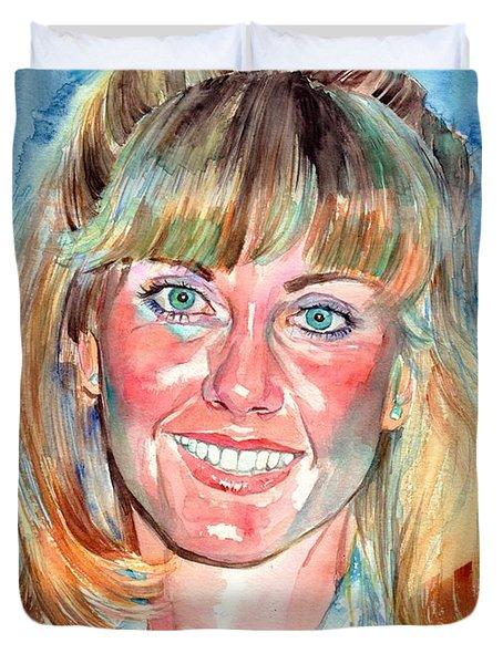 Olivia Newton John Watercolor Duvet Cover